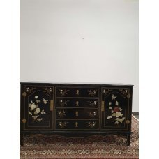Oriental style chest of drawers with flowers of naturals stones
