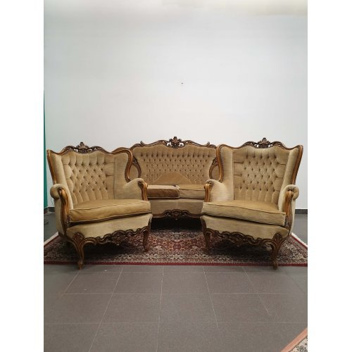 Antique salon set of mahogany sofa and pair armchairs