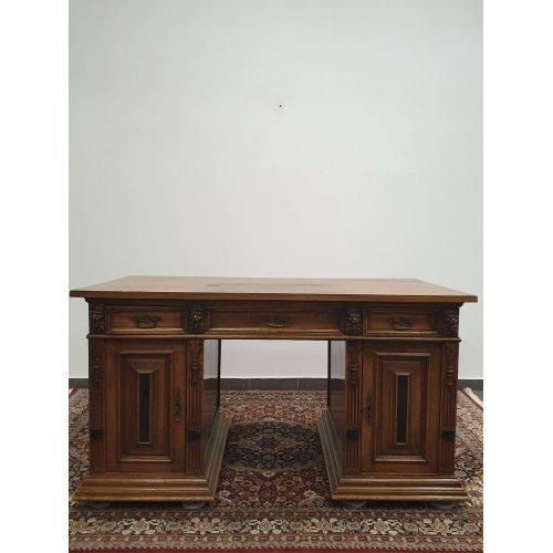 Antique oak and walnut writing desk