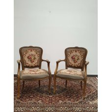 Antique walnut chairs with armrests