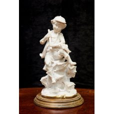 """Plaster figure of Vintage style """"boy with fish"""""""