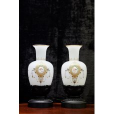 Vintage Limoge vases of white glass with wooden stand