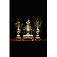 Antique French mantel clock set of marble & gilt