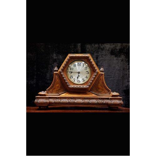 Antique mahogany and walnut wood inlay mantel clock