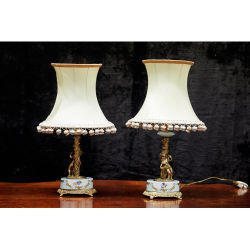 Victorian brass & ceramic table lamp