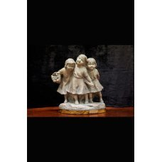 """Vintage style ceramic figure """"Three Girls"""" on a wooden stand"""