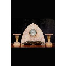 Art Deco marble mantel clock with 2 candlesticks