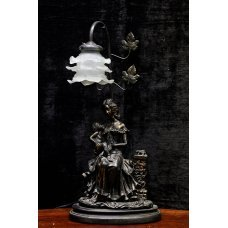 """Victorian style bronze table lamp """"mother with child"""""""